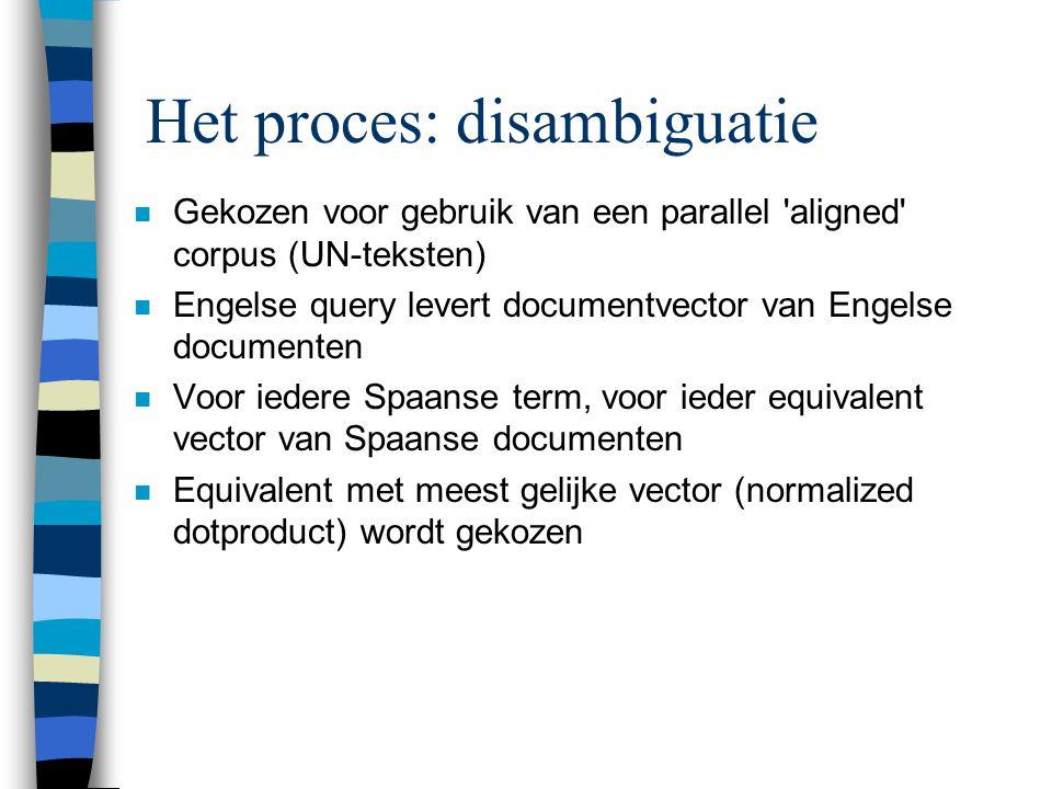 Het proces: disambiguatie n Gekozen voor gebruik van een parallel aligned corpus (UN-teksten) n Engelse query levert documentvector van Engelse documenten n Voor iedere Spaanse term, voor ieder equivalent vector van Spaanse documenten n Equivalent met meest gelijke vector (normalized dotproduct) wordt gekozen