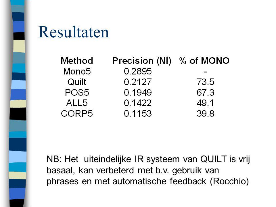 Resultaten NB: Het uiteindelijke IR systeem van QUILT is vrij basaal, kan verbeterd met b.v. gebruik van phrases en met automatische feedback (Rocchio