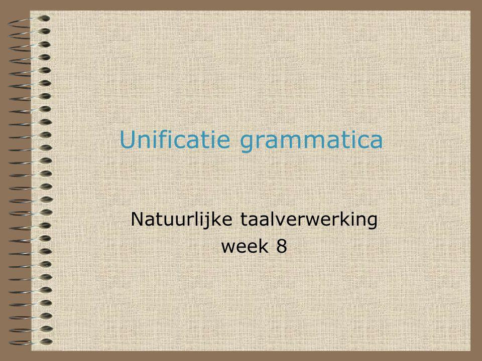 Natuurlijke Taalverwerking12 Macro's voor het lexicon Alle zelfstandige naamwoorden hebben een enkelvoud en een meervoud: woord(Woord,n/N) :- agr(N,3,pl), znw(_,Woord).
