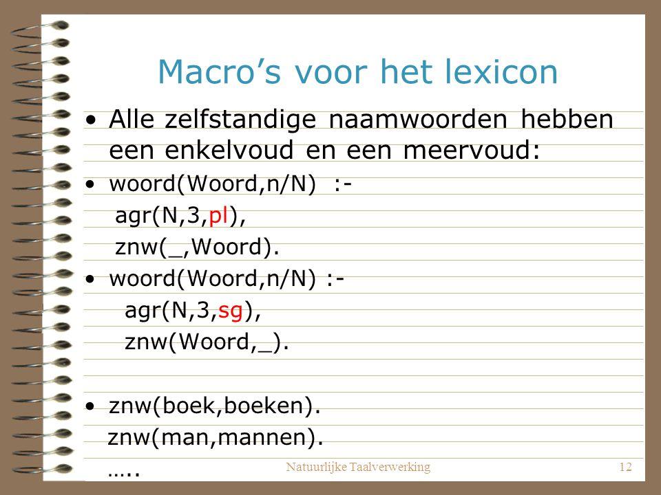 Natuurlijke Taalverwerking12 Macro's voor het lexicon Alle zelfstandige naamwoorden hebben een enkelvoud en een meervoud: woord(Woord,n/N) :- agr(N,3,