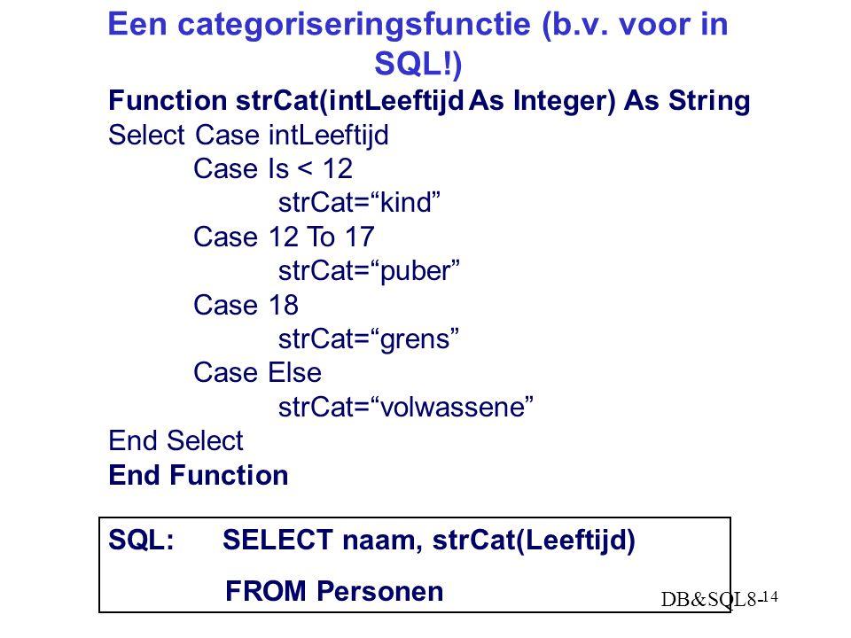 DB&SQL8- 14 Een categoriseringsfunctie (b.v.