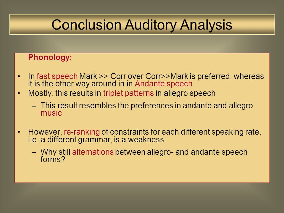 Auditive Analysis