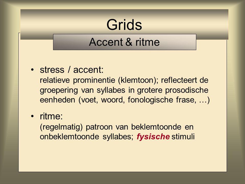 stress / accent: relatieve prominentie (klemtoon); reflecteert de groepering van syllabes in grotere prosodische eenheden (voet, woord, fonologische frase, …) Grids Accent & ritme
