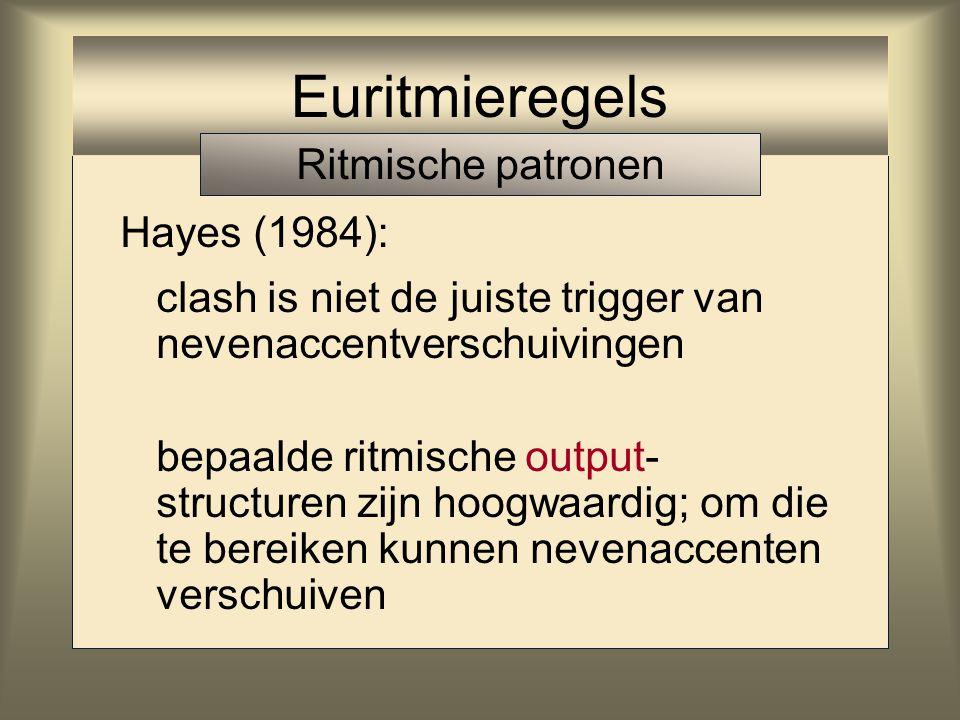 Oplossing Hayes (1984): clash is niet de juiste trigger van nevenaccentverschuivingen Euritmieregels Ritmische patronen