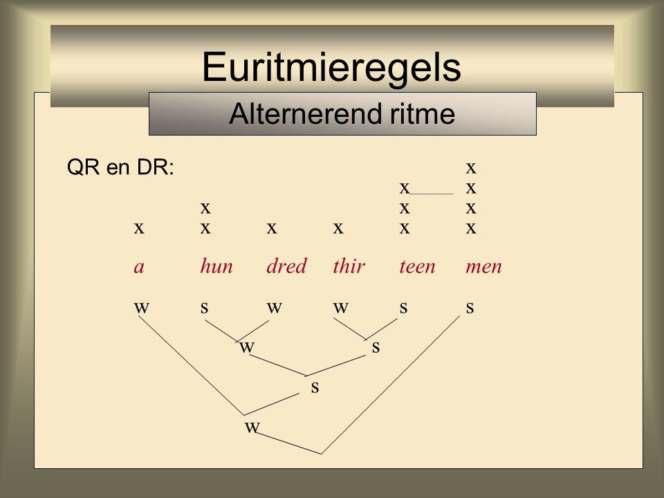 Quadrisyllabic Rule (QR) op het scandeerniveau liggen de x-en idealiter vier syllabes van elkaar verwijderd Disyllabic Rule (DR) op een niveau lager liggen de x-en idealiter twee syllabes van elkaar verwijderd Phrasal Rule (PR) op het een-na-hoogste niveau liggen de x-en zo ver mogelijk van elkaar af Euritmieregels Alternerend ritme