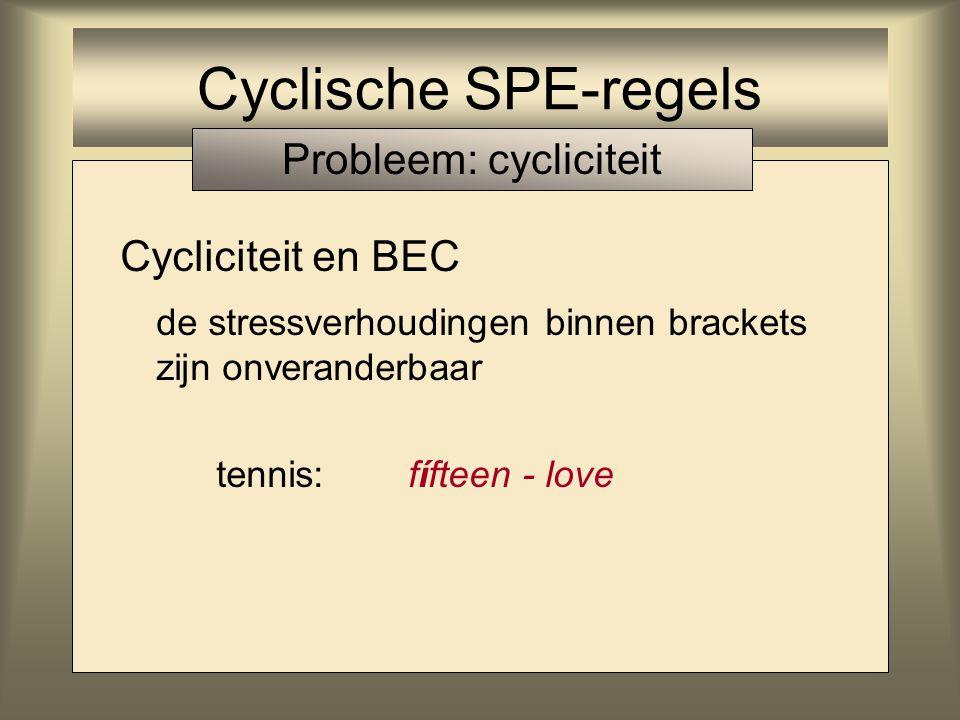Cyclische SPE-regels Cycliciteit en BEC de stressverhoudingen binnen brackets zijn onveranderbaar tennis:love - fiftéen Probleem: cycliciteit