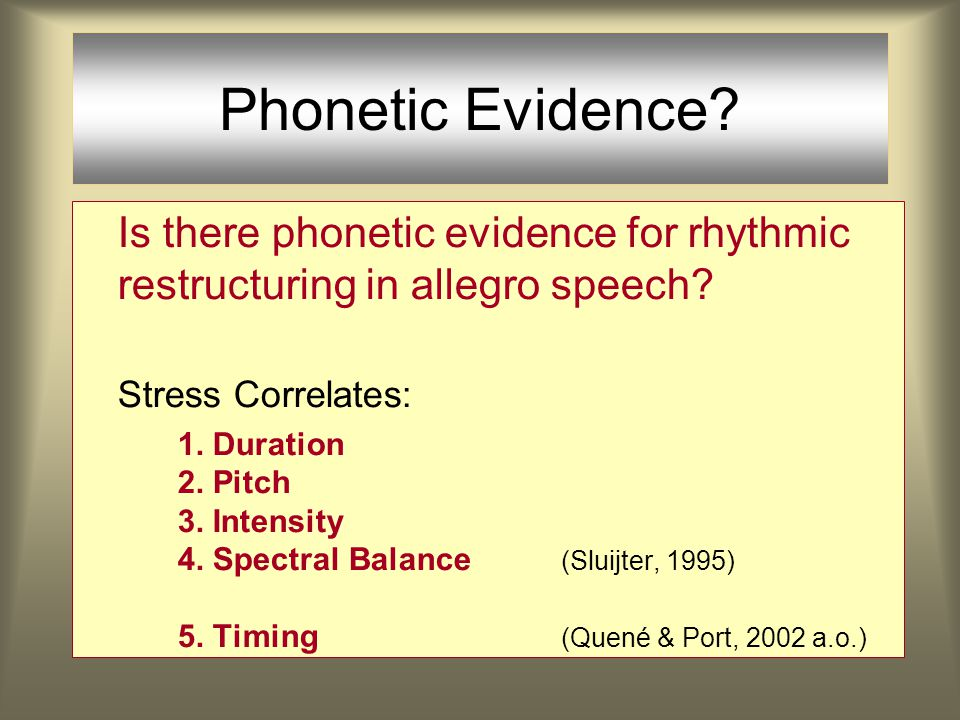 There are different OT-grammars for different rates and styles of speaking ( ) Phonetic Compression is not the sole explanation In fast speech it is more important to avoid clashes.