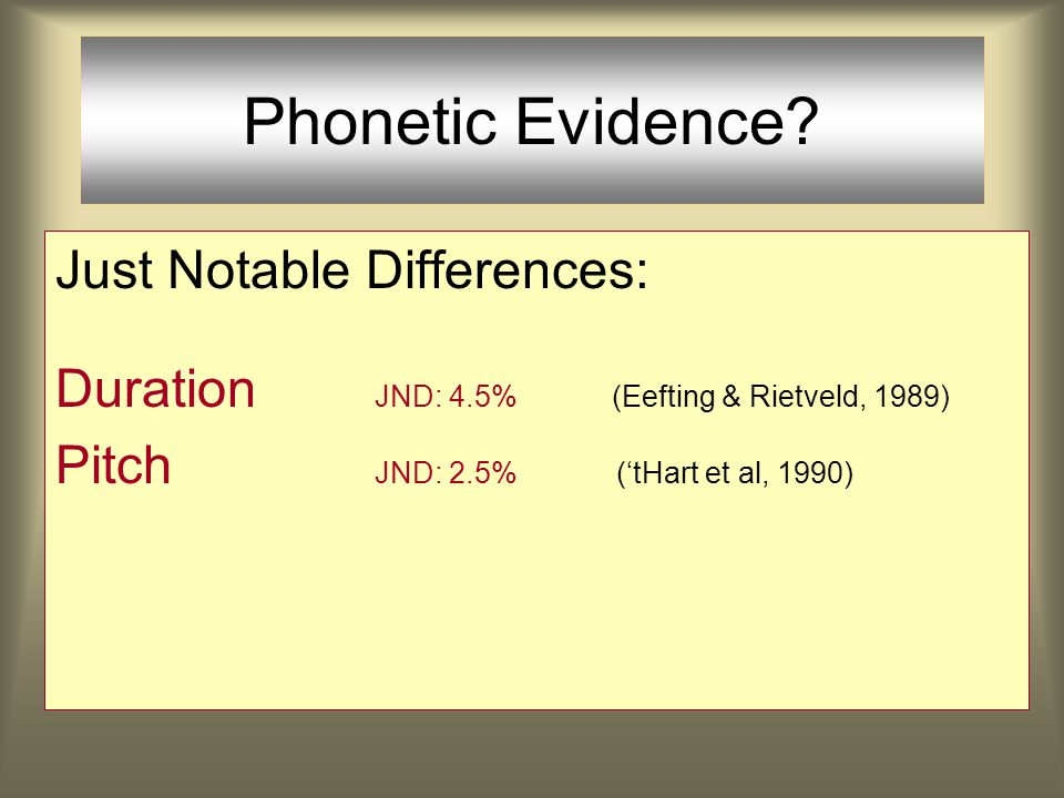 Phonetic Evidence. Is there phonetic evidence for rhythmic restructuring in allegro speech.