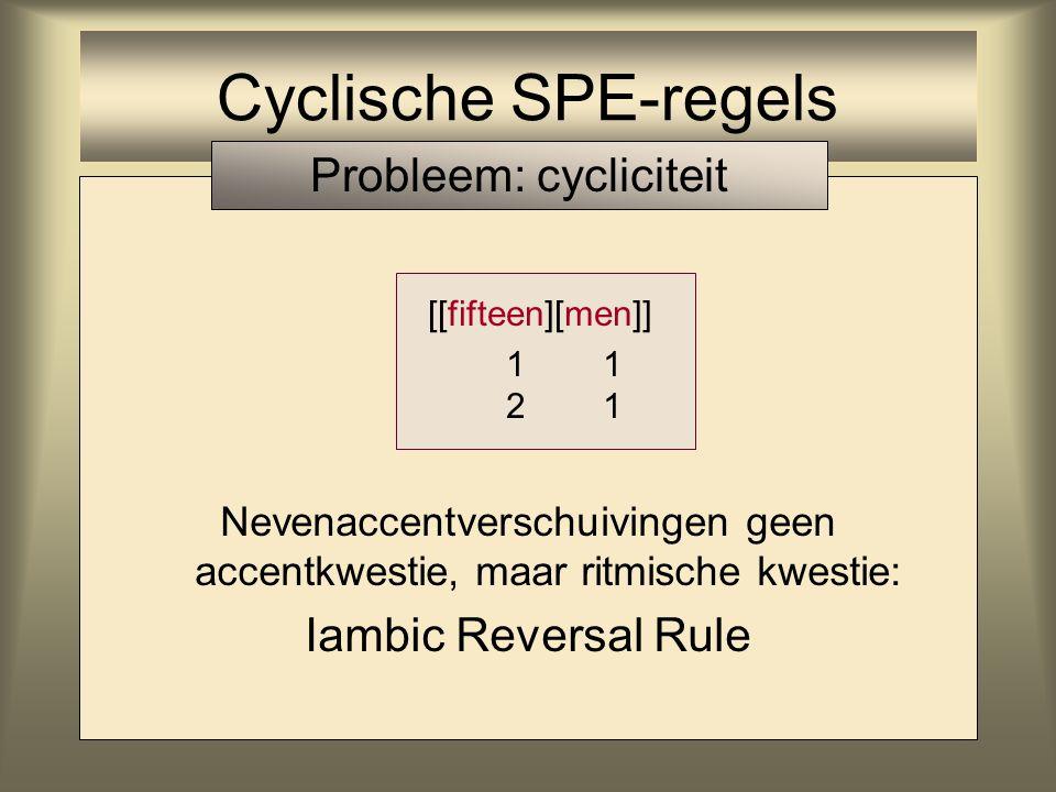 Nevenaccentverschuivingen geen accentkwestie, maar ritmische kwestie: Iambic Reversal Rule [[fifteen][men]] 1 1 2 1 Cyclische SPE-regels Probleem: cyc