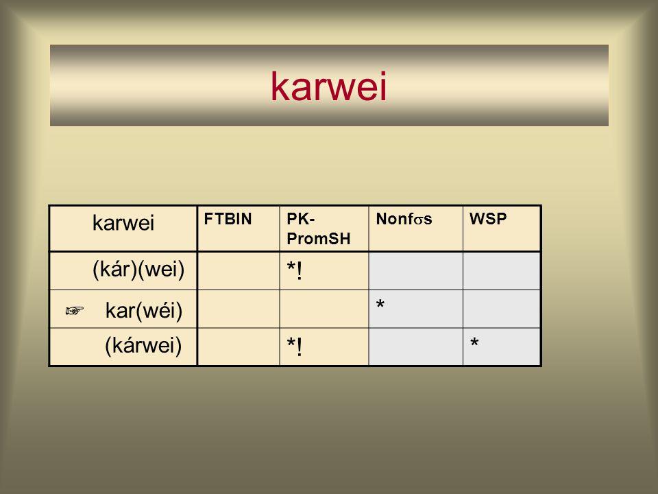karwei FTBINPK- PromSH Nonf  s WSP (kár)(wei) *! kar(wéi) * (kárwei) *!* ☞