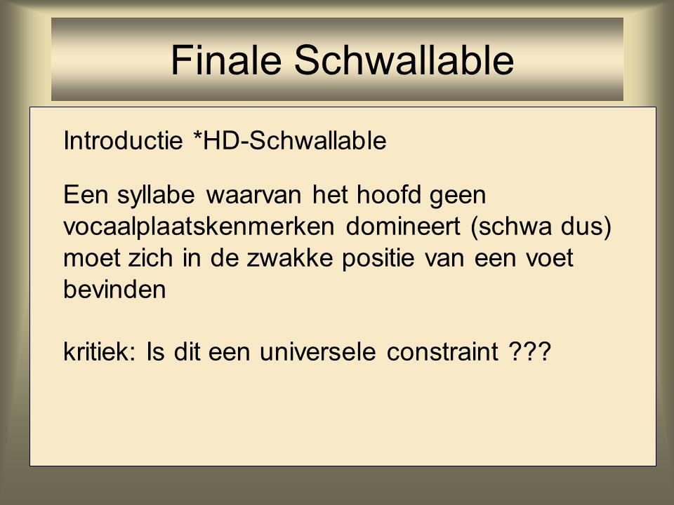 Introductie *HD-Schwallable Een syllabe waarvan het hoofd geen vocaalplaatskenmerken domineert (schwa dus) moet zich in de zwakke positie van een voet