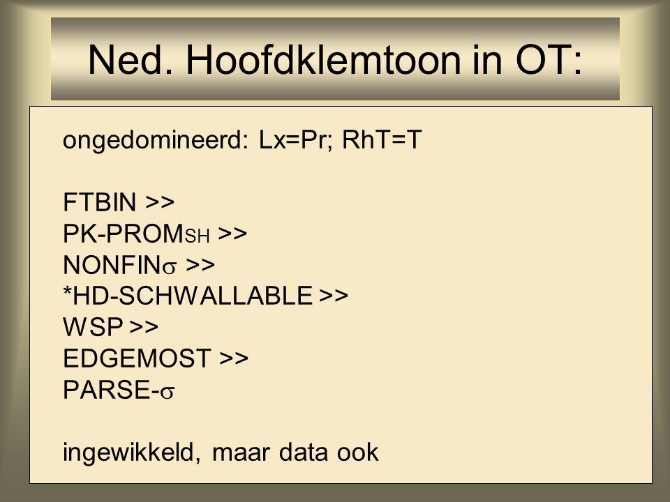 ongedomineerd: Lx=Pr; RhT=T FTBIN >> PK-PROM SH >> NONFIN  >> *HD-SCHWALLABLE >> WSP >> EDGEMOST >> PARSE-  ingewikkeld, maar data ook Ned. Hoofdkle