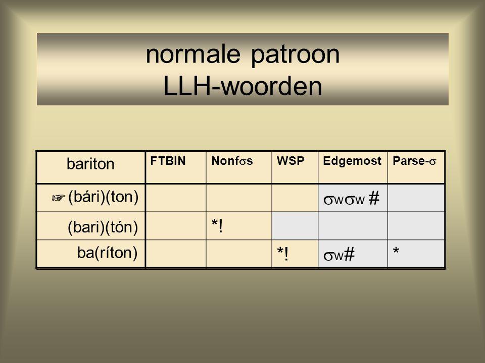 normale patroon LLH-woorden bariton FTBIN Nonf  s WSPEdgemost Parse-  (bári)(ton)  w  w # (bari)(tón) *! ba(ríton) *! w#w# * ☞