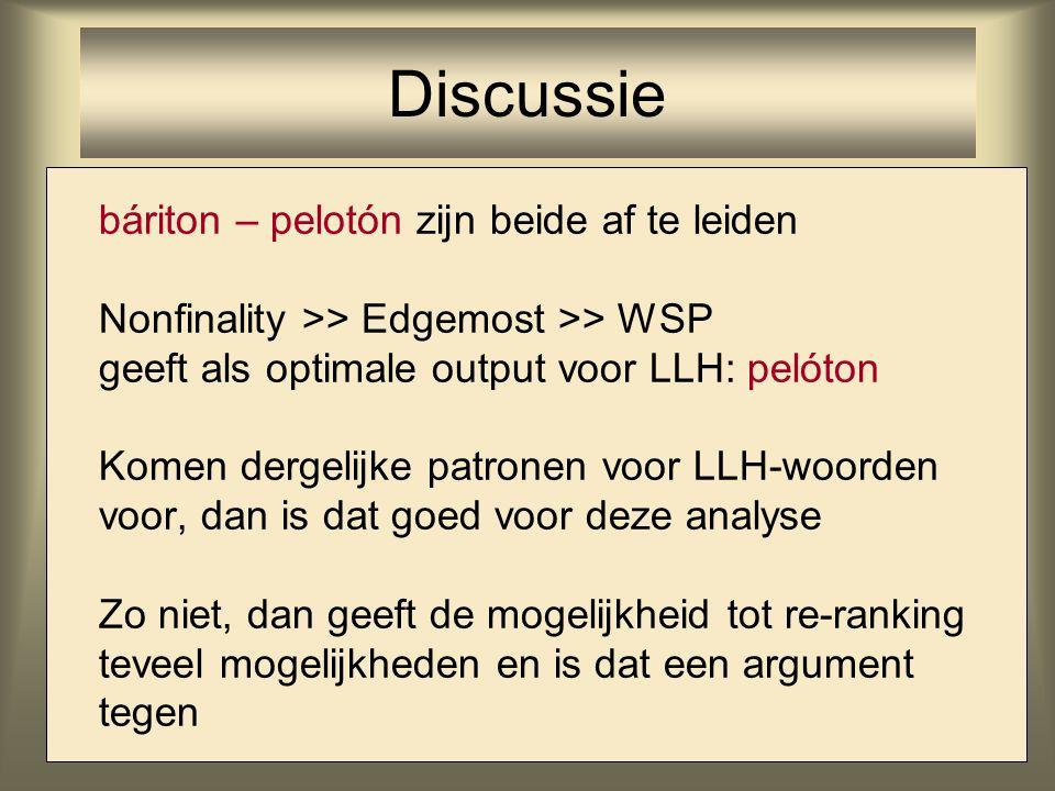 báriton – pelotón zijn beide af te leiden Nonfinality >> Edgemost >> WSP geeft als optimale output voor LLH: pelóton Komen dergelijke patronen voor LL