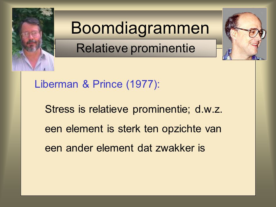 Boomdiagrammen Liberman & Prince (1977): Stress is relatieve prominentie; d.w.z. een element is sterk ten opzichte van een ander element dat zwakker i