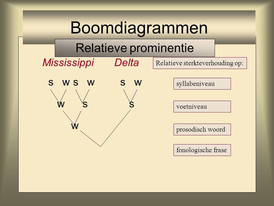 MississippiDelta s w s w s w w s s w Relatieve sterkteverhouding op: syllabeniveau voetniveau prosodisch woord fonologische frase Boomdiagrammen Relat