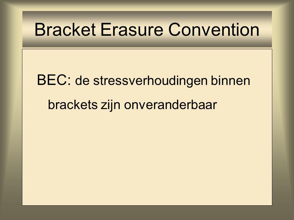 Bracket Erasure Convention BEC: de stressverhoudingen binnen brackets zijn onveranderbaar