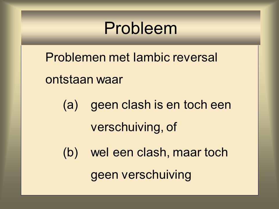 Problemen met Iambic reversal ontstaan waar (a) geen clash is en toch een verschuiving, of (b) wel een clash, maar toch geen verschuiving Probleem