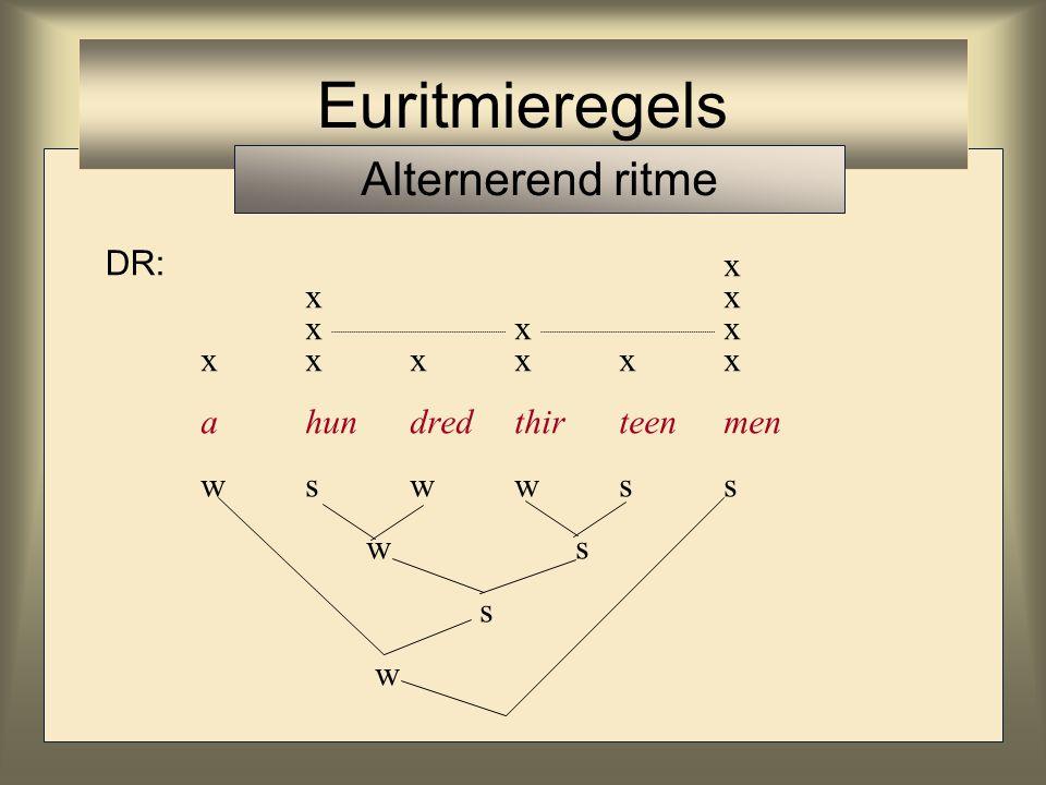 x xx xxx xxxxxx ahundredthirteenmen wswwss w s s w Euritmieregels Alternerend ritme DR: