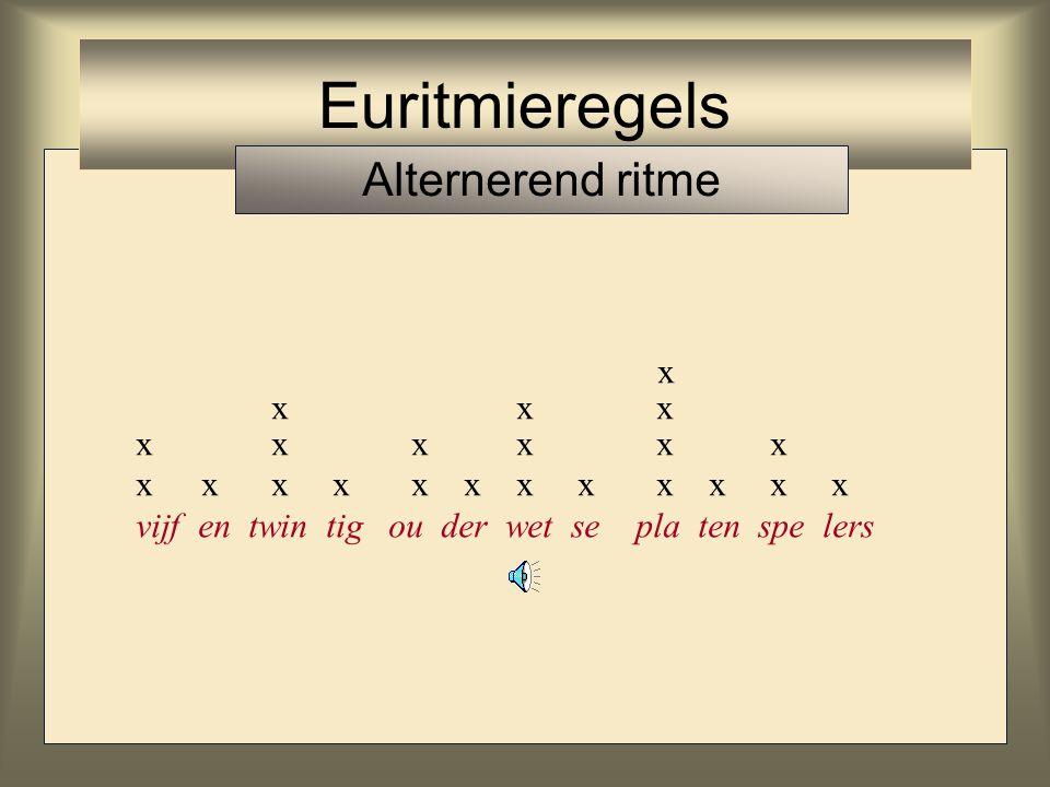 x xx x x xxx x x xx x xx xx x x x xx vijf en twin tig ou der wet se pla ten spe lers Euritmieregels Alternerend ritme