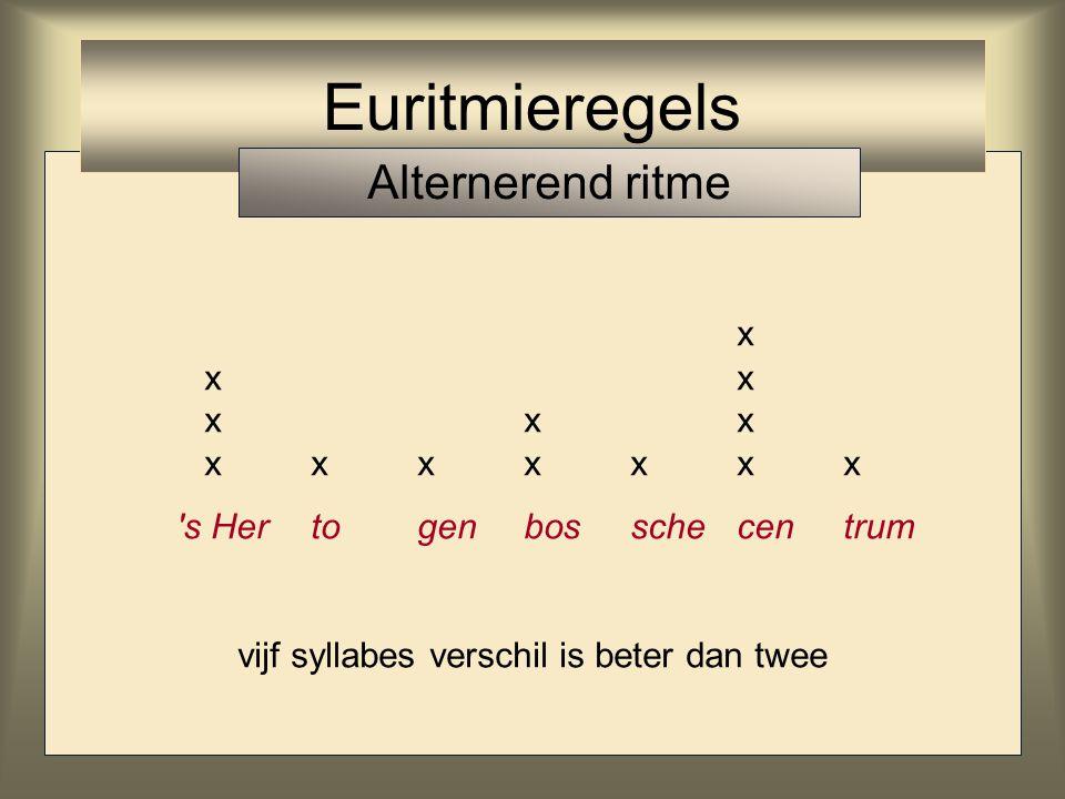 x xx xxx xxxxxxx 's Hertogenbosschecentrum vijf syllabes verschil is beter dan twee Euritmieregels Alternerend ritme