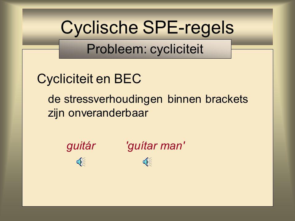 Cycliciteit en BEC de stressverhoudingen binnen brackets zijn onveranderbaar guitár 'guítar man' Cyclische SPE-regels Probleem: cycliciteit