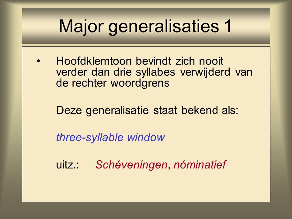 Hoofdklemtoon bevindt zich nooit verder dan drie syllabes verwijderd van de rechter woordgrens Deze generalisatie staat bekend als: three-syllable win