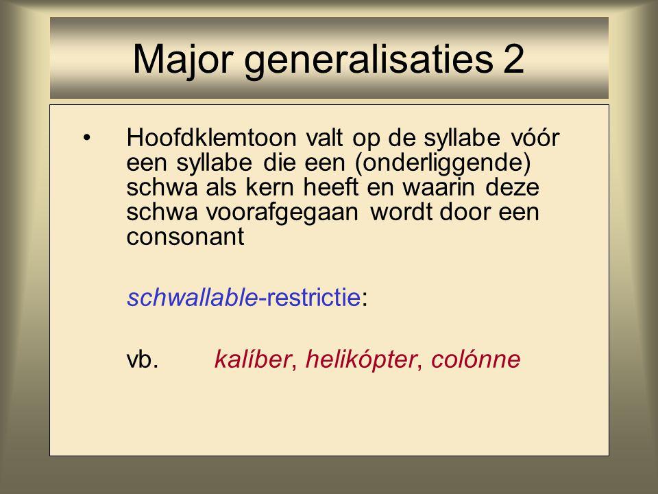 Hoofdklemtoon valt op de syllabe vóór een syllabe die een (onderliggende) schwa als kern heeft en waarin deze schwa voorafgegaan wordt door een conson