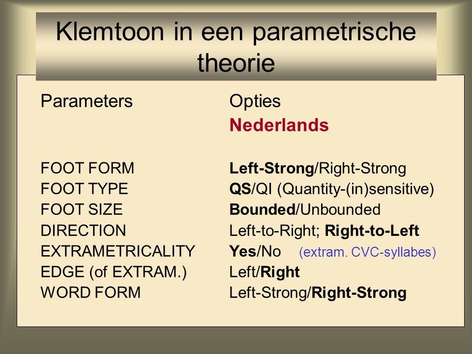ParametersOpties Nederlands FOOT FORMLeft-Strong/Right-Strong FOOT TYPEQS/QI (Quantity-(in)sensitive) FOOT SIZEBounded/Unbounded DIRECTIONLeft-to-Righ