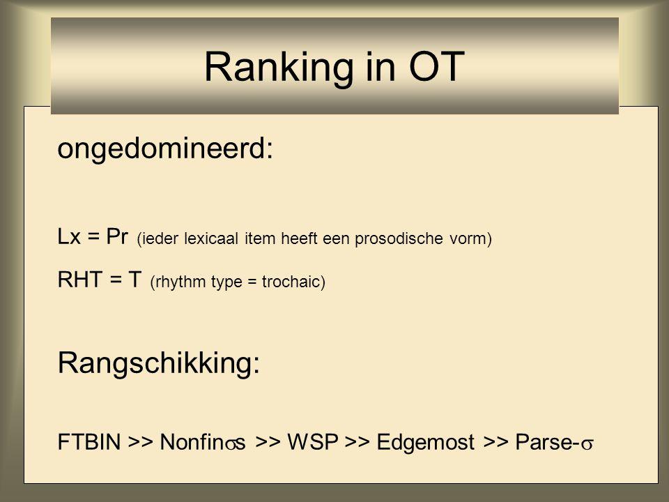 ongedomineerd: Lx = Pr (ieder lexicaal item heeft een prosodische vorm) RHT = T (rhythm type = trochaic) Rangschikking: FTBIN >> Nonfin  s >> WSP >>