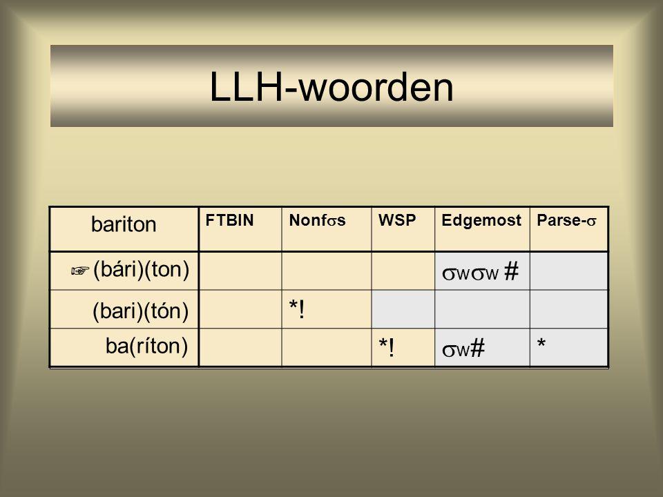 LLH-woorden bariton FTBIN Nonf  s WSPEdgemost Parse-  (bári)(ton)  w  w # (bari)(tón) *! ba(ríton) *! w#w# * ☞