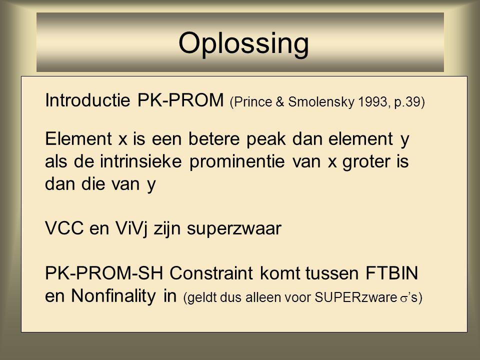 Introductie PK-PROM (Prince & Smolensky 1993, p.39) Element x is een betere peak dan element y als de intrinsieke prominentie van x groter is dan die