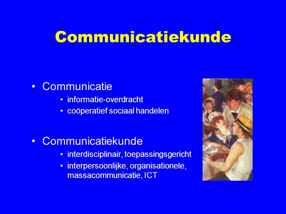 Communicatiekunde Communicatie informatie-overdracht coöperatief sociaal handelen Communicatiekunde interdisciplinair, toepassingsgericht interpersoon