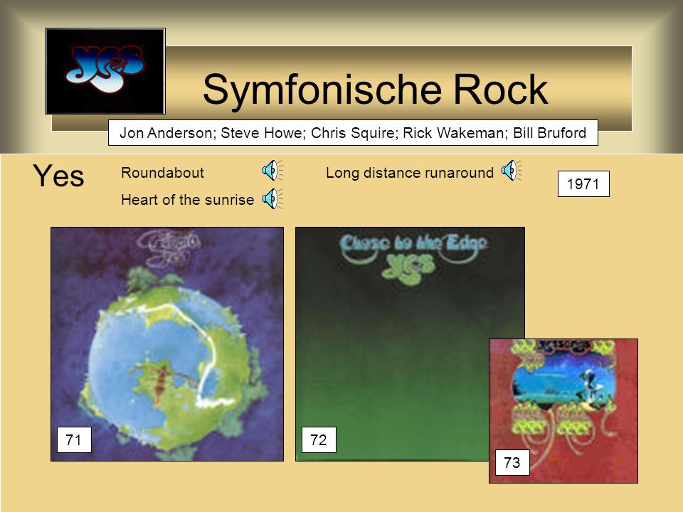 Symfonische Rock Yes RoundaboutLong distance runaround Heart of the sunrise 1971 7172 73 Jon Anderson; Steve Howe; Chris Squire; Rick Wakeman; Bill Bruford