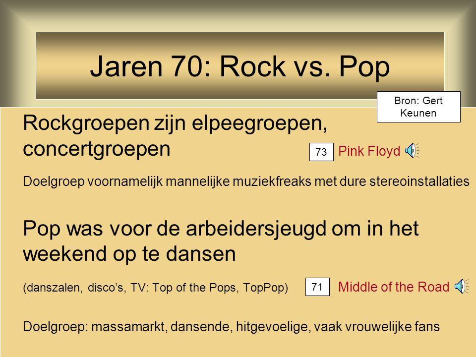 Jaren 70: Rock vs. Pop Rockgroepen zijn elpeegroepen, concertgroepen Pink Floyd Doelgroep voornamelijk mannelijke muziekfreaks met dure stereoinstalla