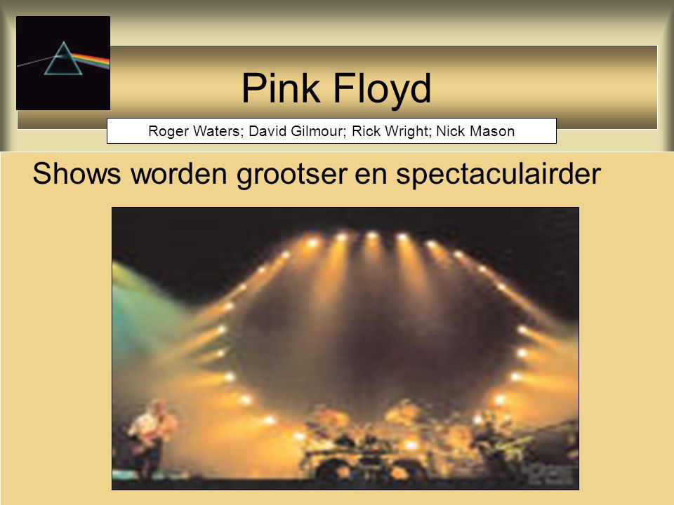 Pink Floyd Shows worden grootser en spectaculairder Roger Waters; David Gilmour; Rick Wright; Nick Mason