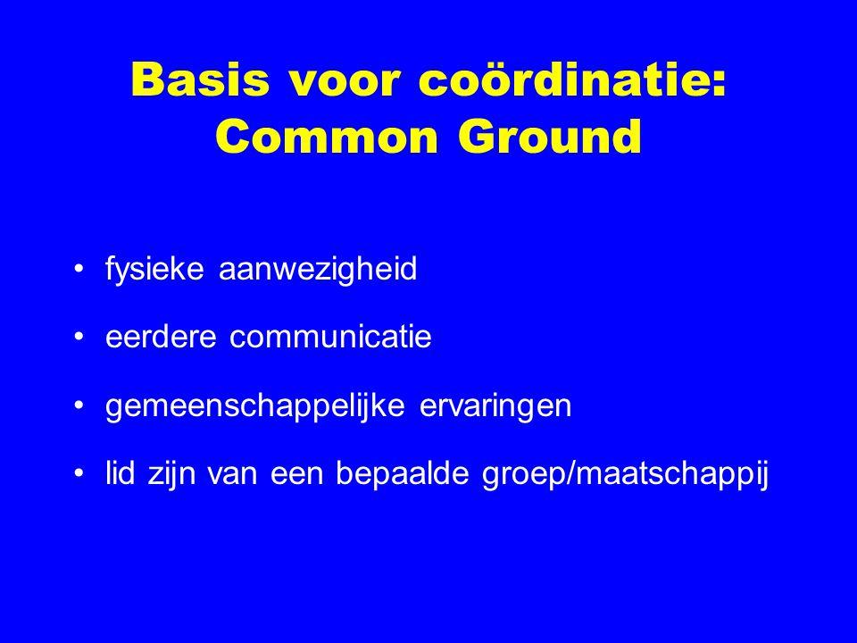 Basis voor coördinatie: Common Ground fysieke aanwezigheid eerdere communicatie gemeenschappelijke ervaringen lid zijn van een bepaalde groep/maatschappij