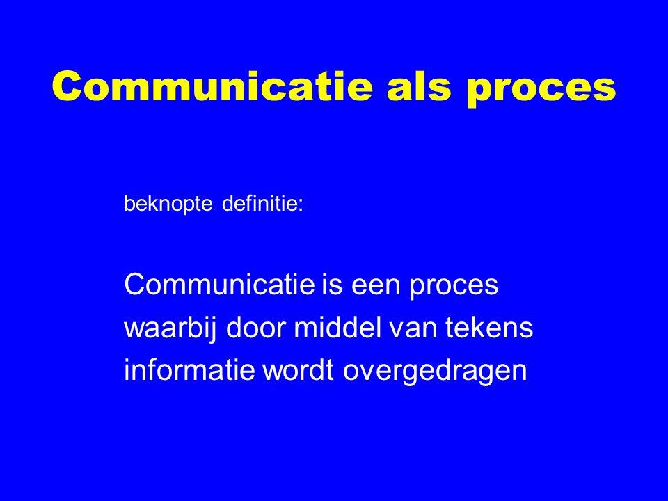 Communicatie als proces beknopte definitie: Communicatie is een proces waarbij door middel van tekens informatie wordt overgedragen