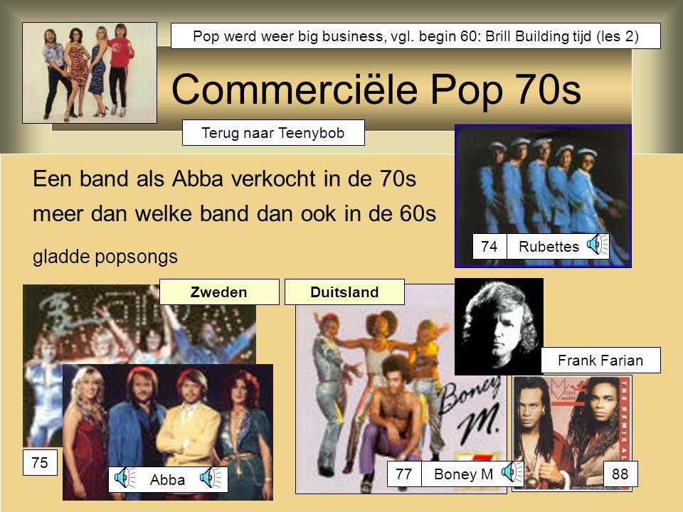 Commerciële Pop 70s Een band als Abba verkocht in de 70s meer dan welke band dan ook in de 60s gladde popsongs Abba Boney M Frank Farian Rubettes Zwed