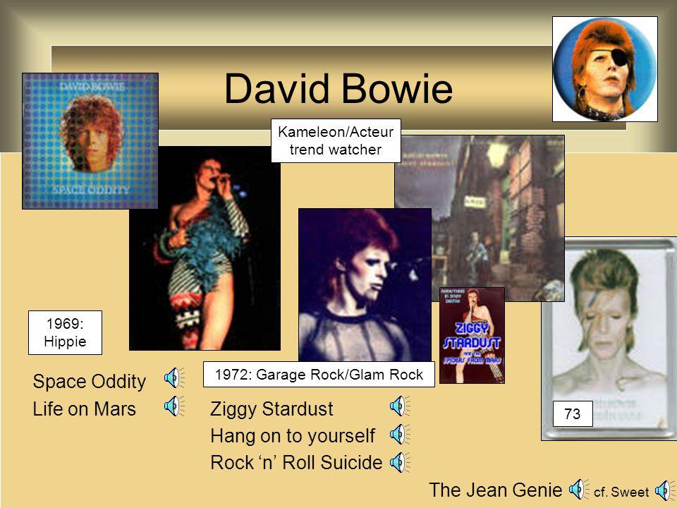 David Bowie Fame (met Lennon) Golden years The Thin White Duke: Station to station (live) Heroes (met Brian Eno) 1975/6: Soul/Funk 1977: Avant-Garde/New Wave 1983: New Romantic: Let's Dance Kameleon/Acteur