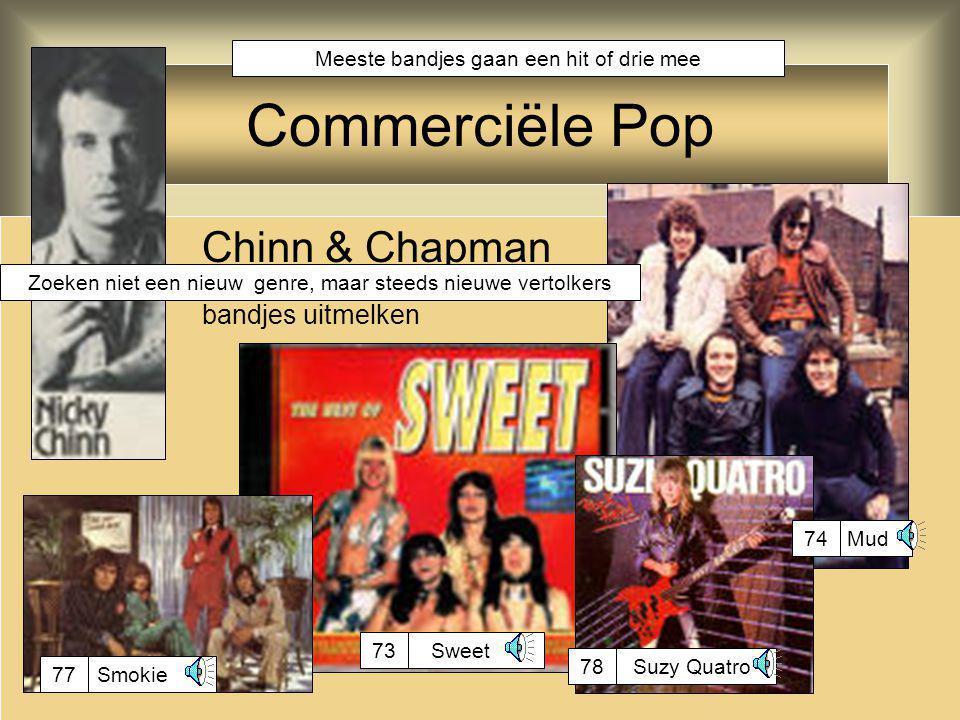 Glam Rock Ook wel: Glitter Rock theatrale rock, korte bondige liedjes artiesten extravagant gekleed met veel make up simpele teksten, reactie op idealistische hippiemuziek Glam rock is commerciële rock, maar sommige artiesten hebben wel degelijk ook artistieke waarde Toen extravagant, nu de norm: Little Richard Gary Glitter: alleen het imago 73