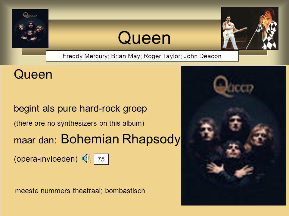 Queen later allerlei invloeden in de muziek geïntegreerd: rockabilly in crazy little thing called 'love' funk in another one bites the dust under pressure (met Bowie) vanilla ice (1990) ice ice baby 81 79 80