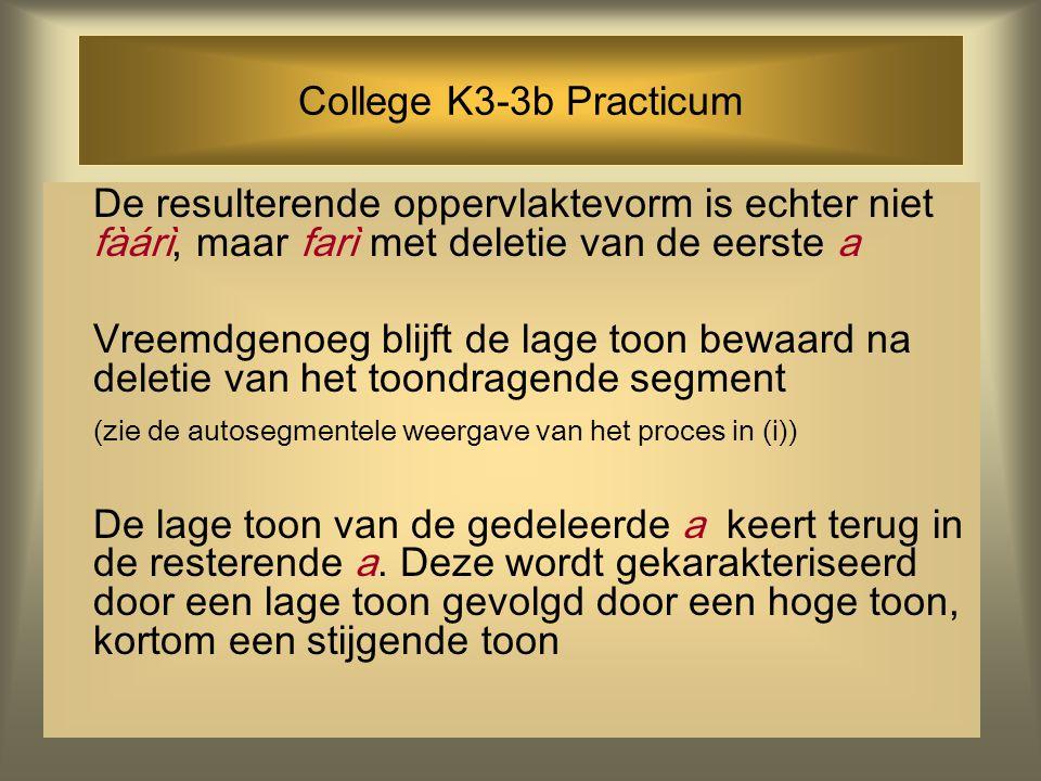 College K3-3b Practicum De resulterende oppervlaktevorm is echter niet fàárì, maar farì met deletie van de eerste a Vreemdgenoeg blijft de lage toon b