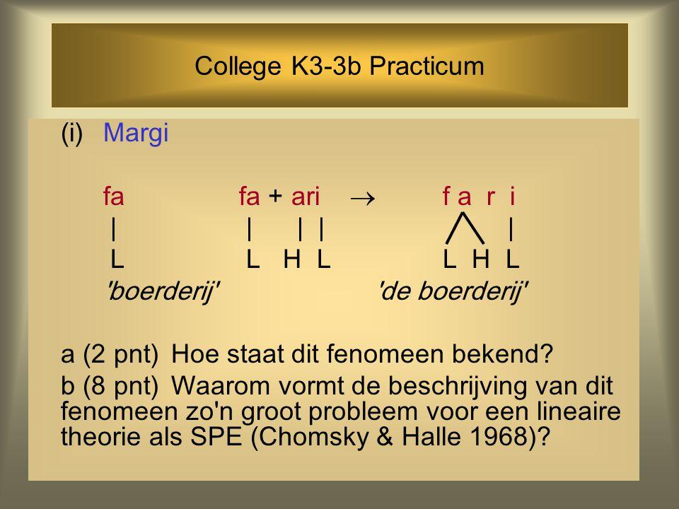 College K3-3b Practicum (i)Margi fafa + ari  f a r i | | | | | L L H LL H L boerderij de boerderij a (2 pnt)Hoe staat dit fenomeen bekend.
