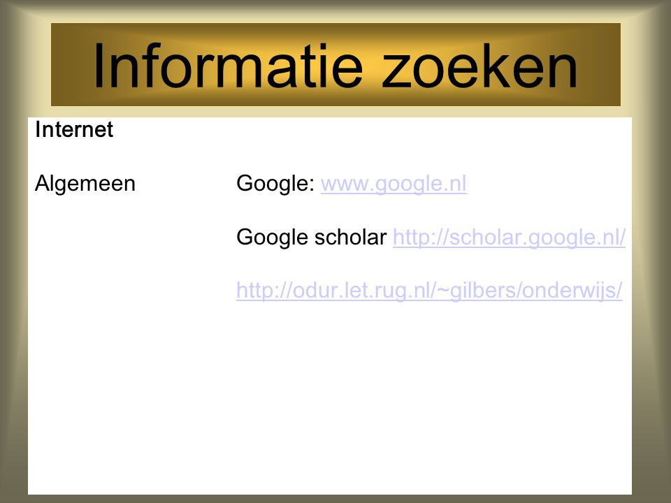 Informatie zoeken Journals Phonology; Journal of Phonetics; First Language; Journal of Speech and Hearing Research; Journal of Speech and Hearing Disorders; Infant Behaviour and Development; Journal of Child Language; Clinical Linguistics and Phonetics; Journal of Communication Disorders; Child Language Teaching and Therapy; Language; Speech and Hearing Services in Schools