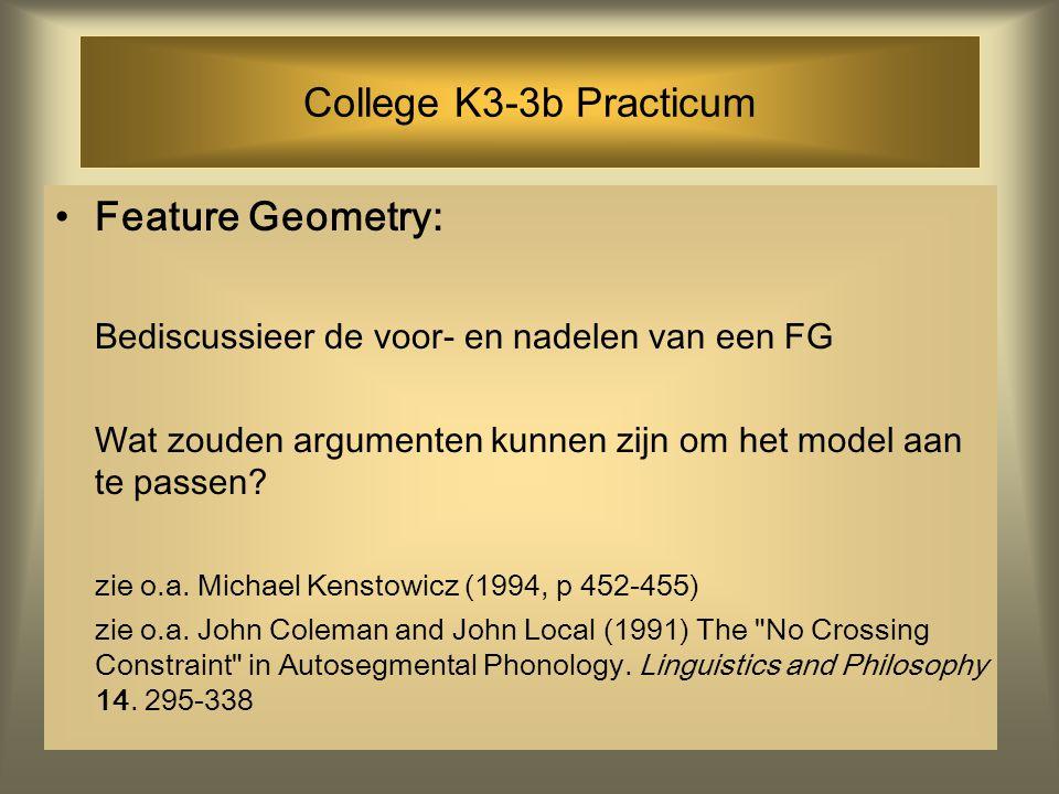 College K3-3b Practicum Feature Geometry: Bediscussieer de voor- en nadelen van een FG Wat zouden argumenten kunnen zijn om het model aan te passen.