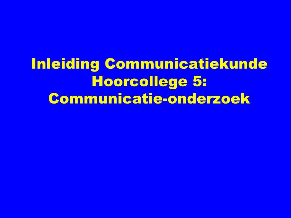 Inleiding Communicatiekunde Hoorcollege 5: Communicatie-onderzoek