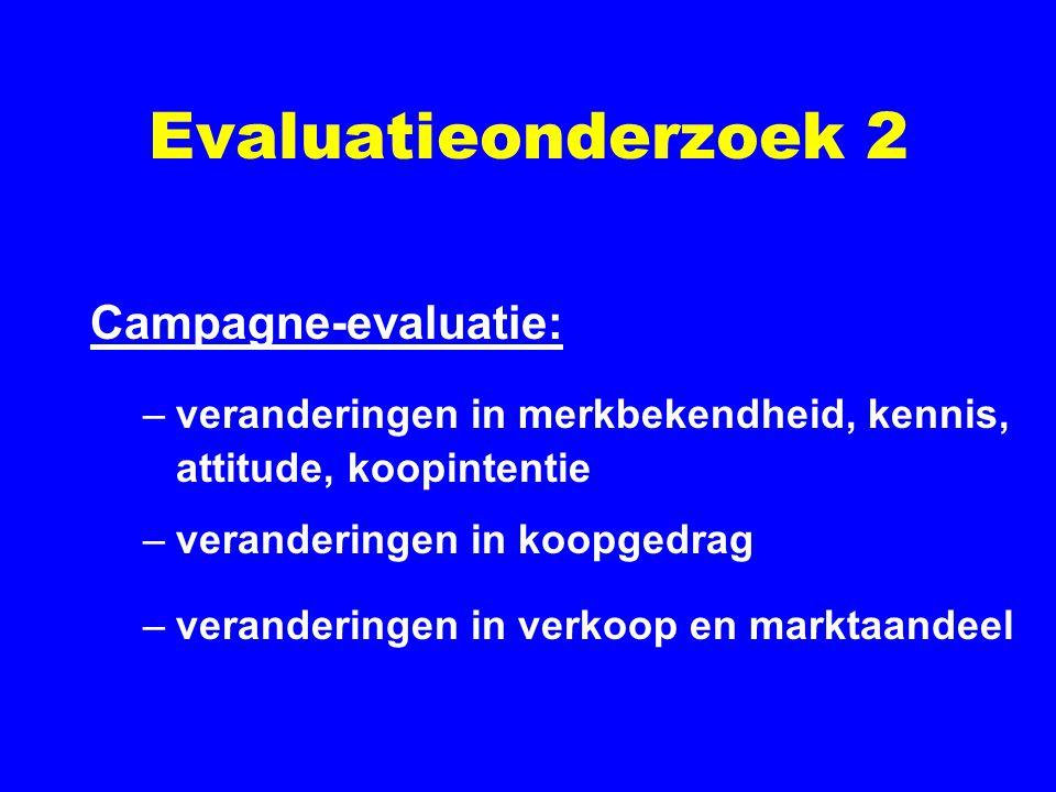 Evaluatieonderzoek 2 Campagne-evaluatie: –veranderingen in merkbekendheid, kennis, attitude, koopintentie –veranderingen in koopgedrag –veranderingen in verkoop en marktaandeel