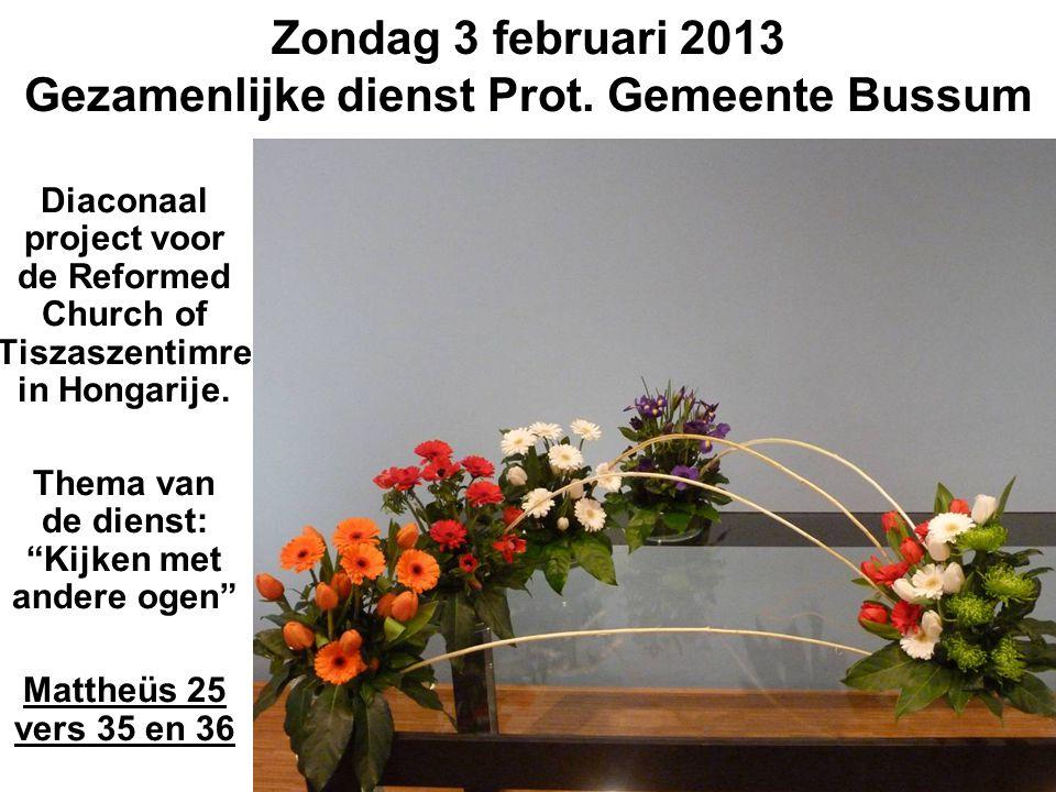 Zondag 3 februari 2013 Gezamenlijke dienst Prot.