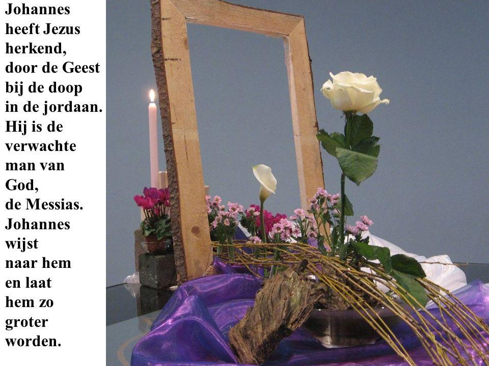 Johannes heeft Jezus herkend, door de Geest bij de doop in de jordaan. Hij is de verwachte man van God, de Messias. Johannes wijst naar hem en laat he